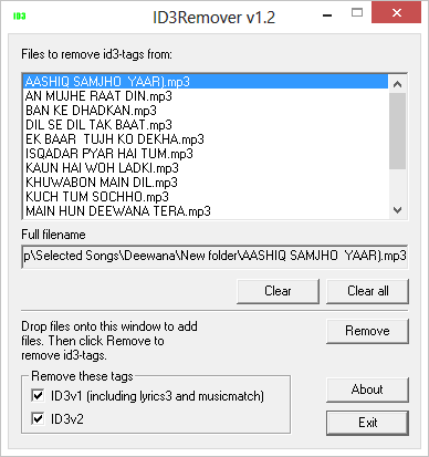 Files Imported in ID3Remover
