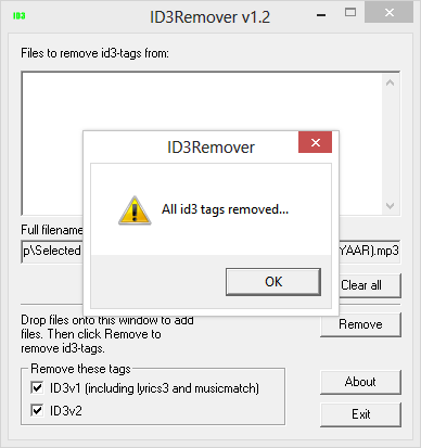 Result Window in ID3Remover