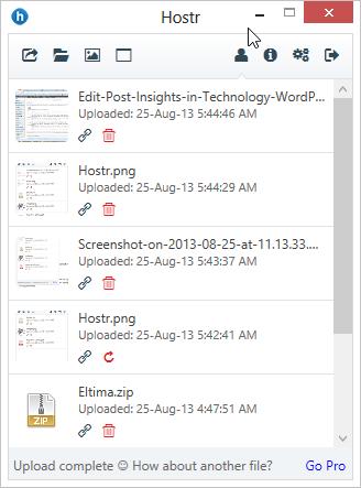 Uploaded files - Hostr