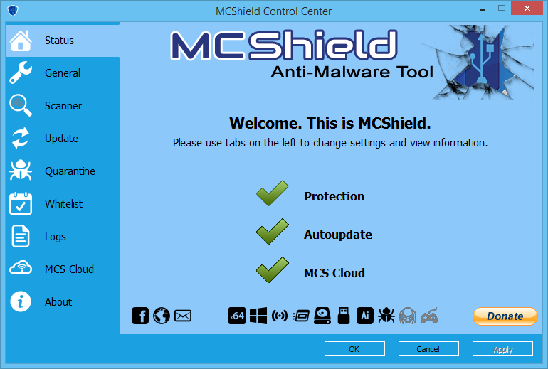 Main GUI of MCShield 3