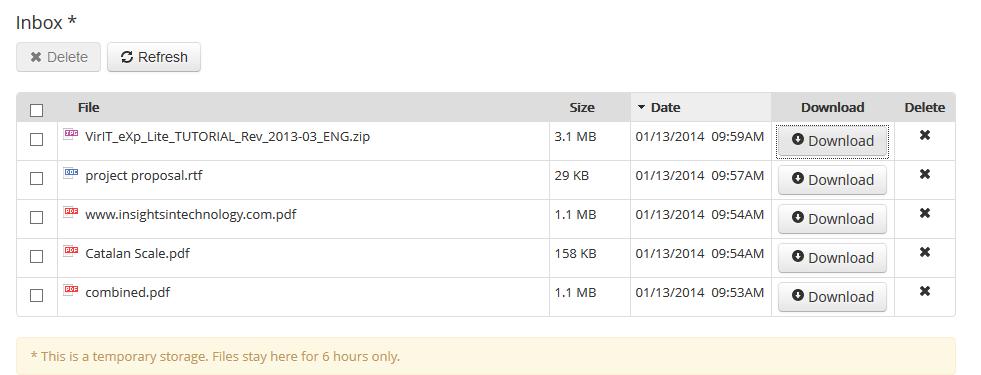 Temporary Inbox in PDF Burger