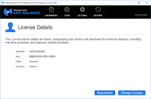 Malwarebytes Anti-Malware - License Details