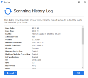 Malwarebytes Anti-Malware Scanning History Log