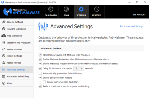 Malwarebytes Anti-Malware Advanced Settings