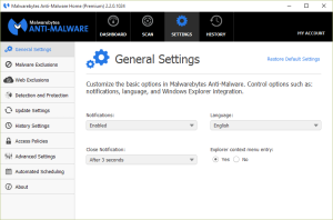 Malwarebytes Anti-Malware General Settings