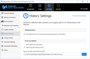 Malwarebytes Anti-Malware History Settings