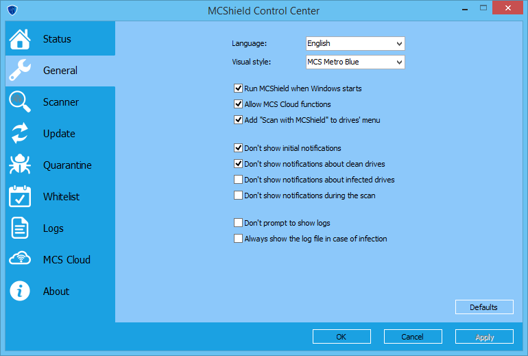 General Settings of MCShield 3