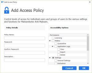 Malwarebytes Anti-Malware - Add Access Policy