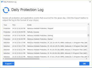 Malwarebytes Anti-Malware Daily Protection Log