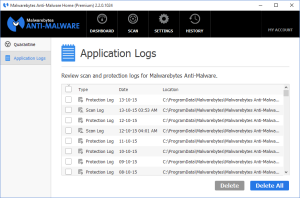 Malwarebytes Anti-Malware Application Log