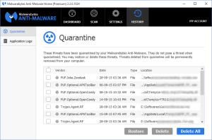 Malwarebytes Anti-Malware Quarantine