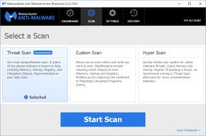 Malwarebytes Anti-Malware Scan Types