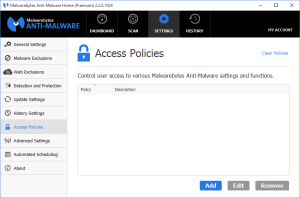 Malwarebytes Anti-Malware - Access Policies