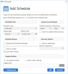 Malwarebytes Anti-Malware - Add Scanning Schedule