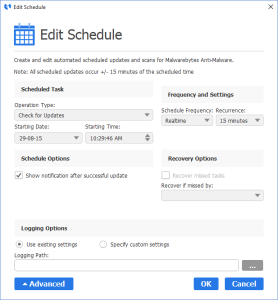 Malwarebytes Anti-Malware - Add Update Schedule