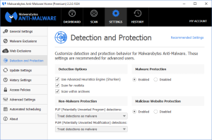 Malwarebytes Anti-Malware Detection and Protection
