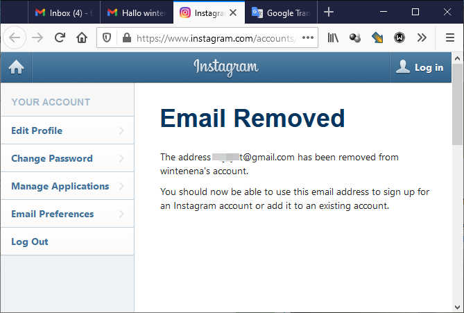 Email Removed from Instagram