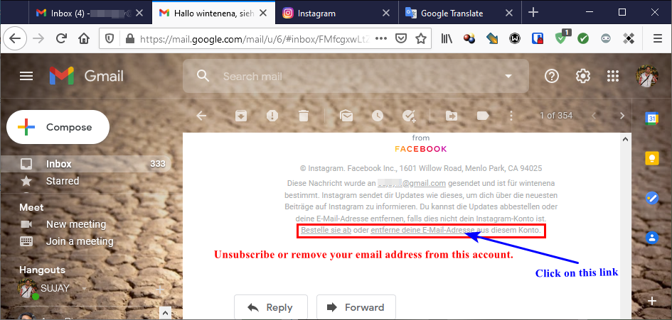 Follow the proper link to remove your email from Instagram